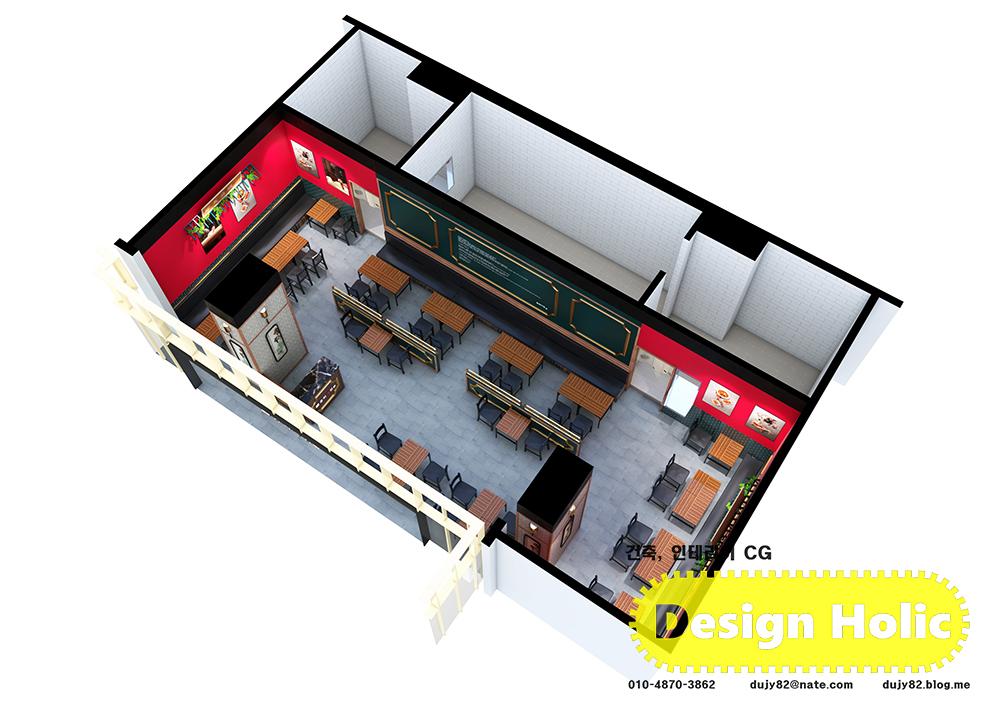 중국집 중화요리 인테리어 디자인 3d 투시도 조감도 아이소메트릭 외주수주 프리랜서3.jpg