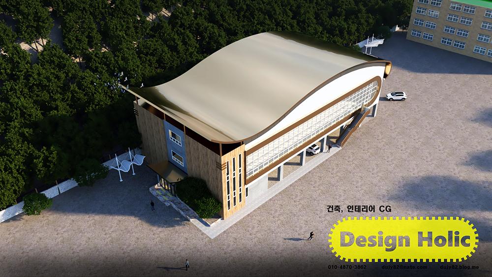 건축 3d 조감도, 강당 건물 투시도 브로셔용 건축 심의용 허가용 시안 프리렌서 3d 외주 인테리어 cg3.jpg